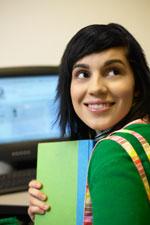 Girl working on computer