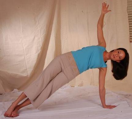 bridget green vegetarian in yoga pose