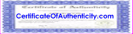 Click-Here to order a Certificate of Authenticity for your product or service
