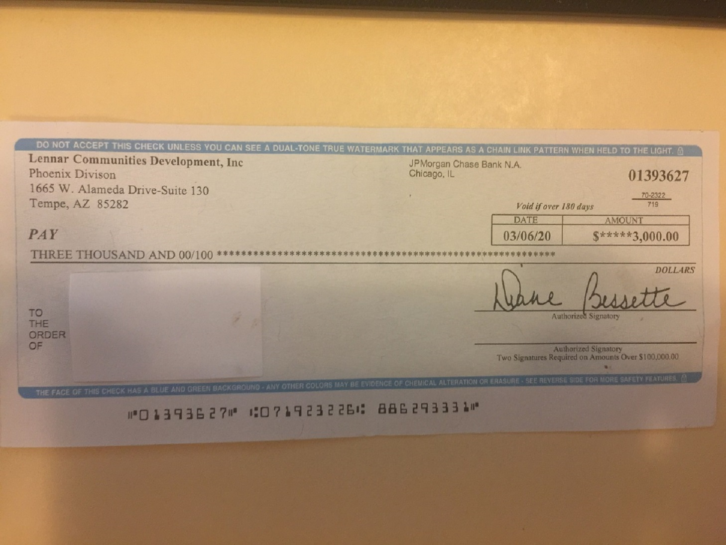Chase Bank Bad check from 'Diane Bessette' after agreement between 'Steven M Moore','Kathleen J Spencer' referred to 'Thomas Haldorsen