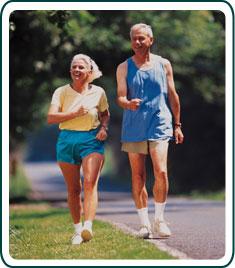 A couple walking.